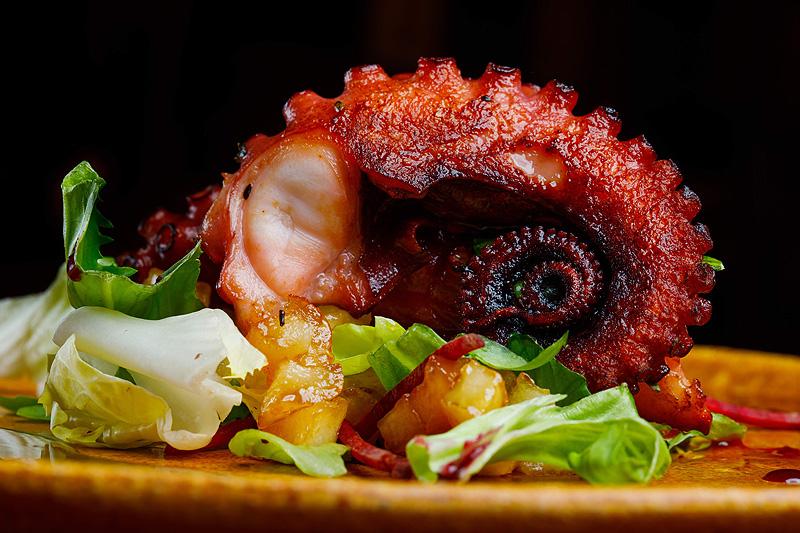 Sesja zdjęciowa jedzenie ośmiorniczki